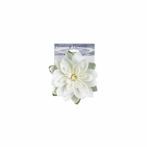 1 Dozen - 7 inch Floating Lotus Flowers with Raindrops in White