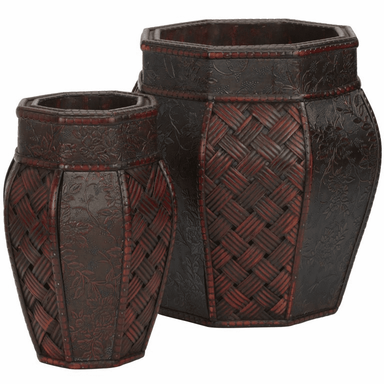 "10.5"" - 12.5"" Design and Weave Panel Decorative Planters (Set of 2)"