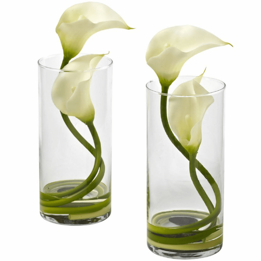 "10.5"" Cream Colored Double Calla Lily in Cylinder Vases (Set of 2)"