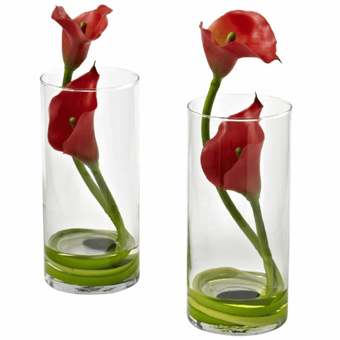 "10.5"" Red Double Calla Lily in Cylinder Vases (Set of 2)"