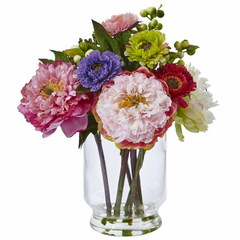 "10.5"" Silk Peony and Mum Flower Arrangement in Glass Vase"