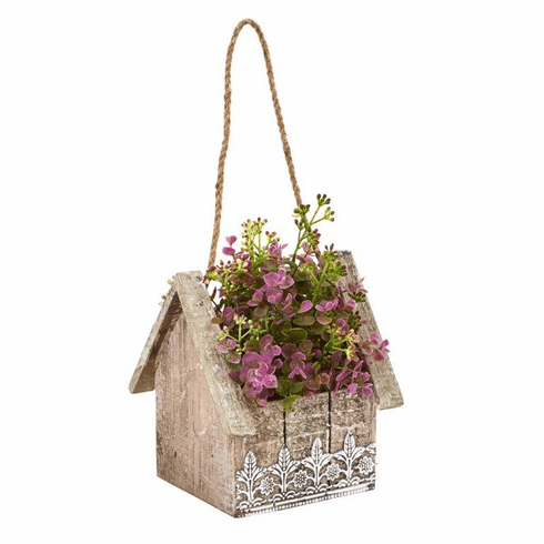 "10.75 "" Sedum and Eucalyptus Artificial Plant in Birdhouse Hanging Basket"