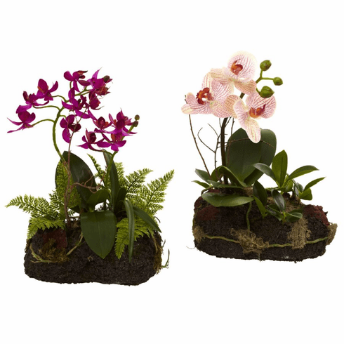 """10"""" Artificial Orchid Island Plants - Set of 2"""