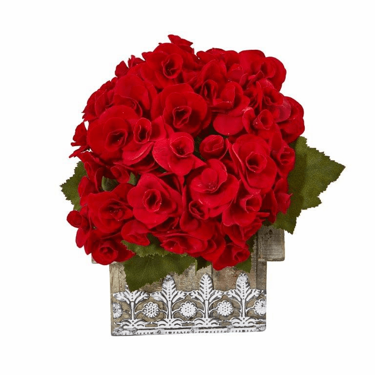 10� Begonia Artificial Plant in Hanging Floral Design House Planter - Red