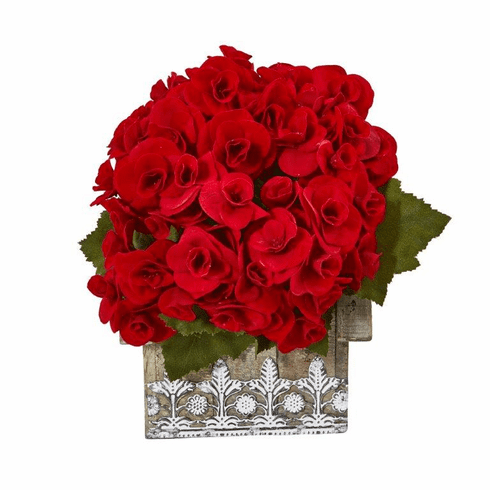"""10"""" Begonia Artificial Plant in Hanging Floral Design House Planter - Red"""