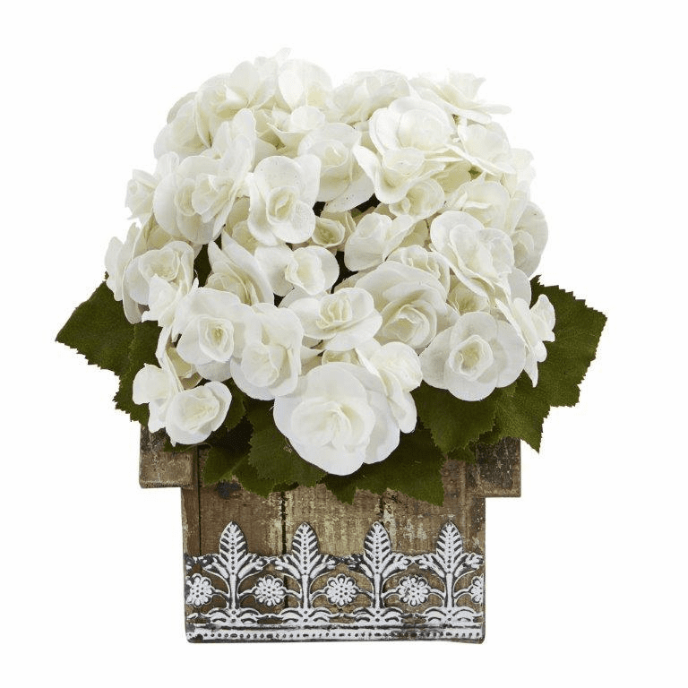 10� Begonia Artificial Plant in Hanging Floral Design House Planter - White