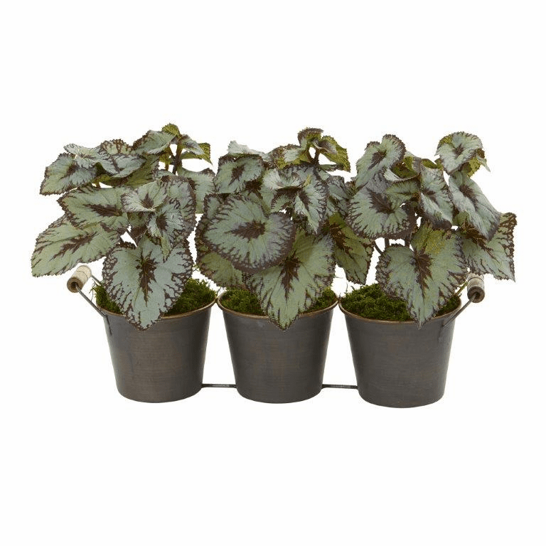 10� Begonia Artificial Plant in Triple Potted Metal Planter
