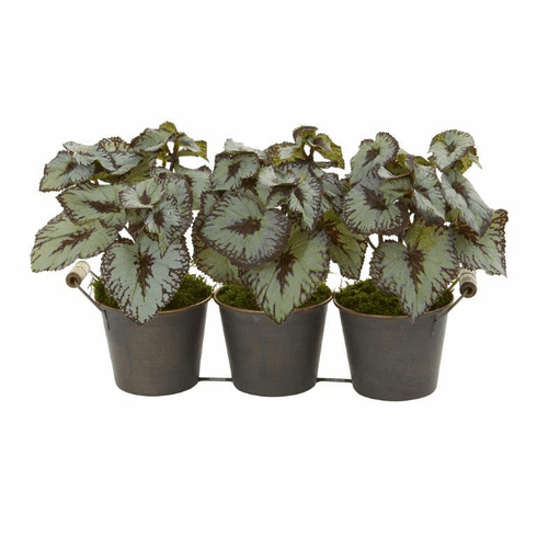 "10"" Begonia Artificial Plant in Triple Potted Metal Planter"