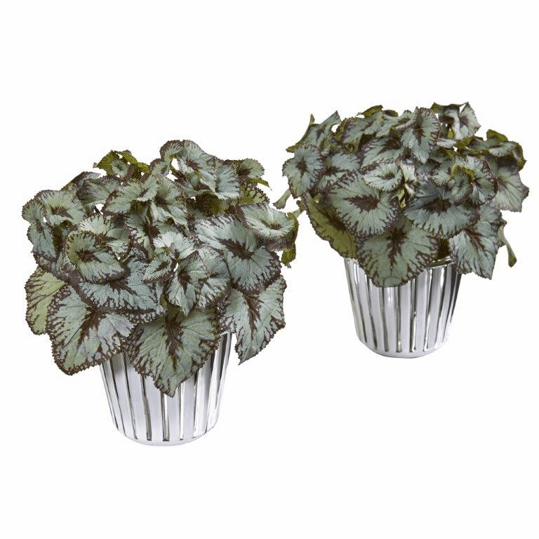 10� Begonia Artificial Plant in White and Silver Trimmed Vase (Set of 2)