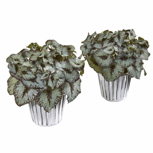 """10"""" Begonia Artificial Plant in White and Silver Trimmed Vase (Set of 2)"""