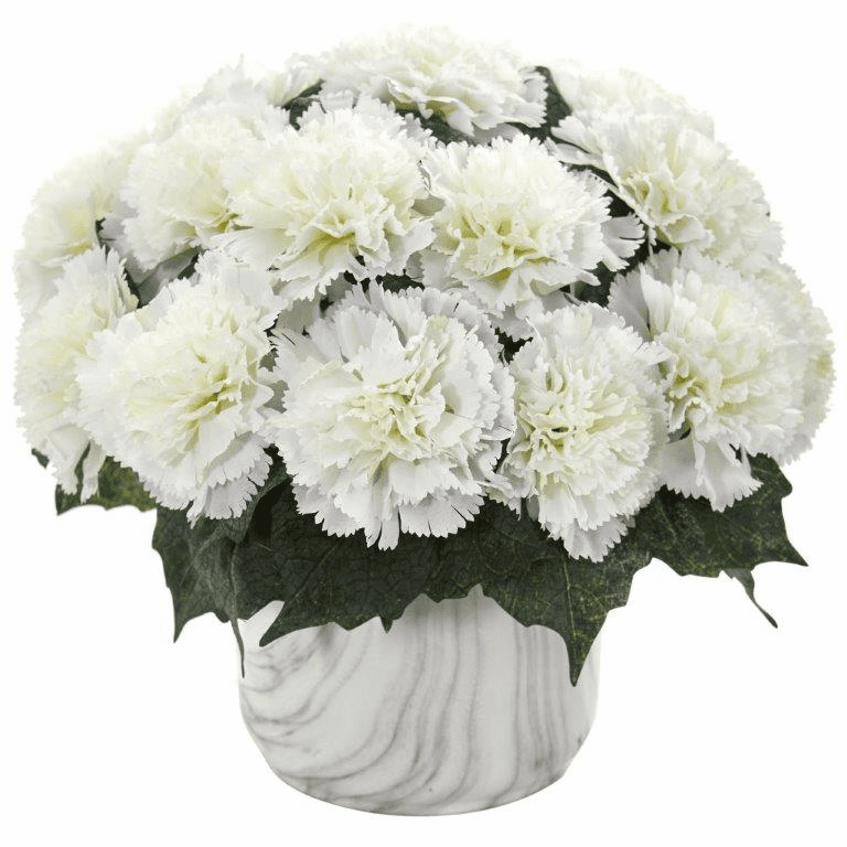 "10"" Carnation Artificial Arrangement in Marble Finished Vase - Cream"