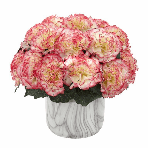 "10"" Carnation Artificial Arrangement in Marble Finished Vase - Cream Pink"