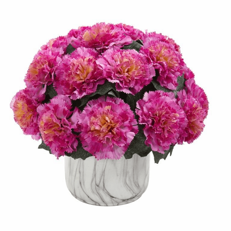 "10"" Carnation Artificial Arrangement in Marble Finished Vase - Dark Pink"