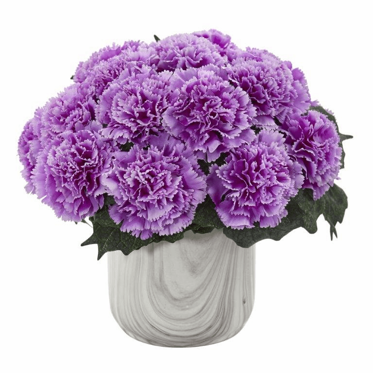 "10"" Carnation Artificial Arrangement in Marble Finished Vase - Purple"