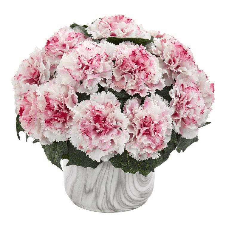 "10"" Carnation Artificial Arrangement in Marble Finished Vase - White Mauve"