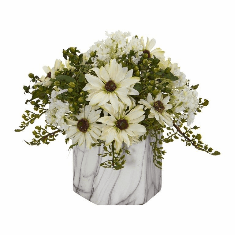"10"" Daisy Artificial Arrangement in Marble Finished Vase - Cream"