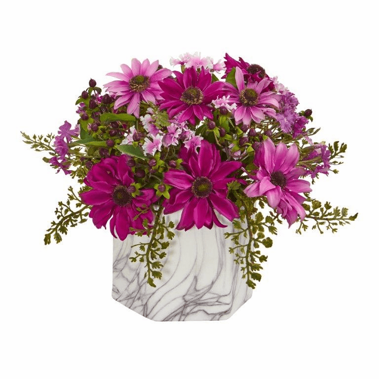 """10"""" Daisy Artificial Arrangement in Marble Finished Vase - Pink"""