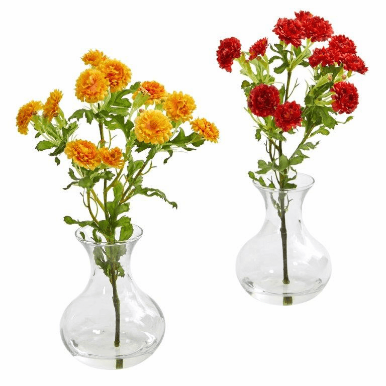 "10"" Japanese Artificial Arrangement in Vase (Set of 2)"