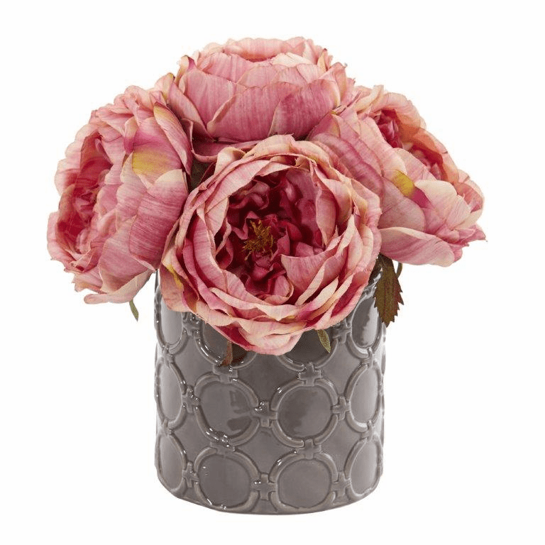 "10"" Large Rose Artificial Arrangement in Gray Vase - Pink"