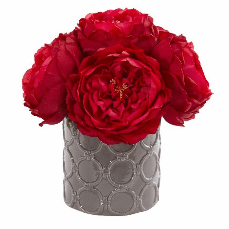 "10"" Large Rose Artificial Arrangement in Gray Vase - Red"