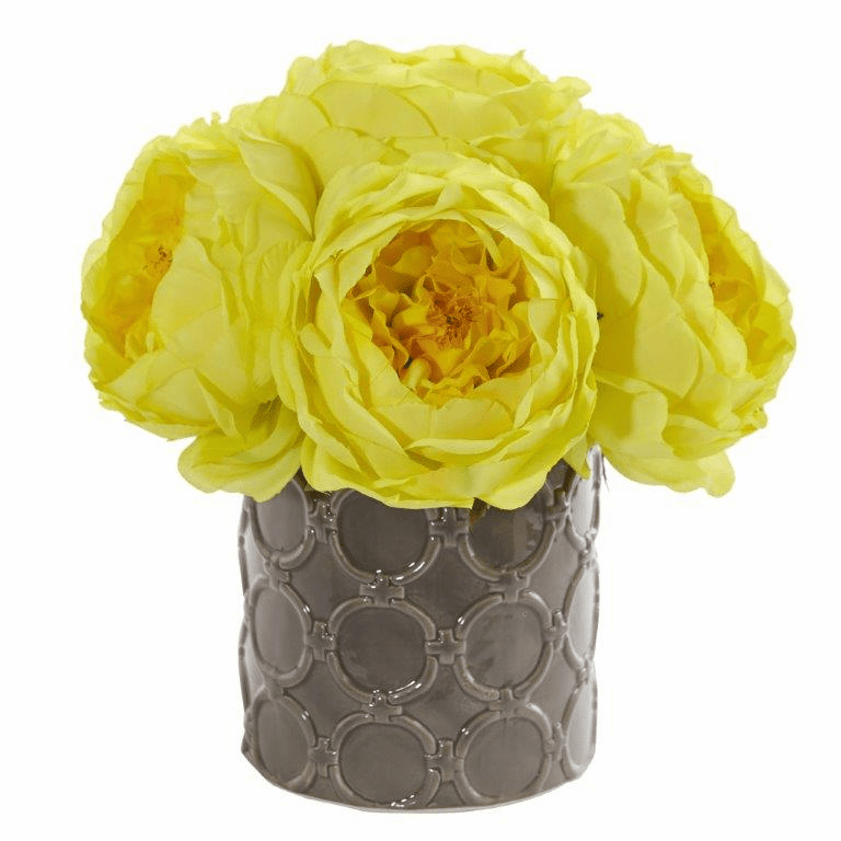 "10"" Large Rose Artificial Arrangement in Gray Vase - Yellow"