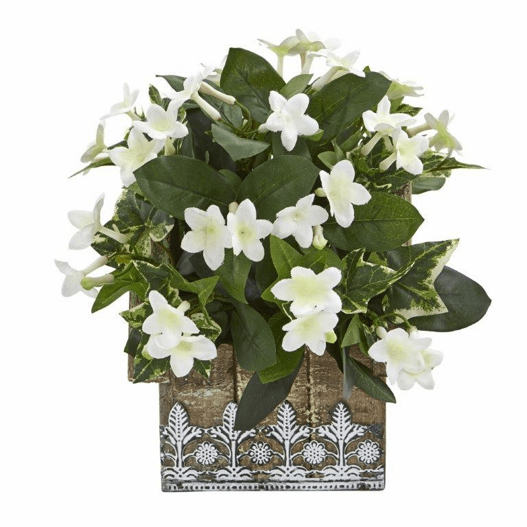 10� Mix Stephanotis and Ivy Artificial Plant in Hanging Floral Design House Planter