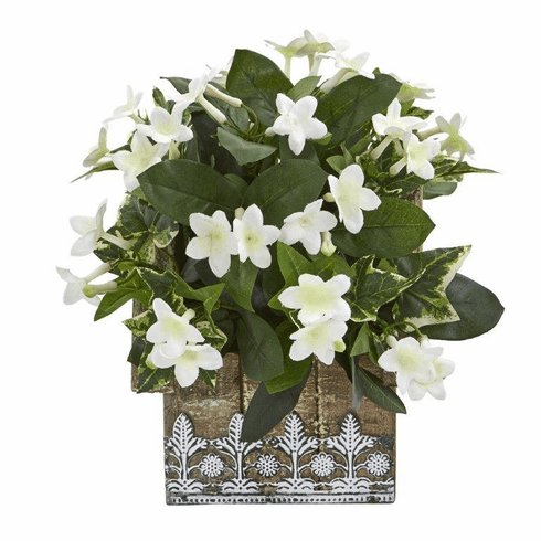 "10"" Mix Stephanotis and Ivy Artificial Plant in Hanging Floral Design House Planter"