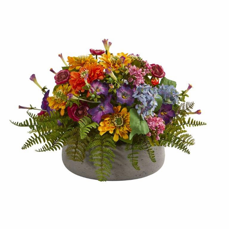 "10"" Mixed Floral Artificial Arrangement in Stone Planter"