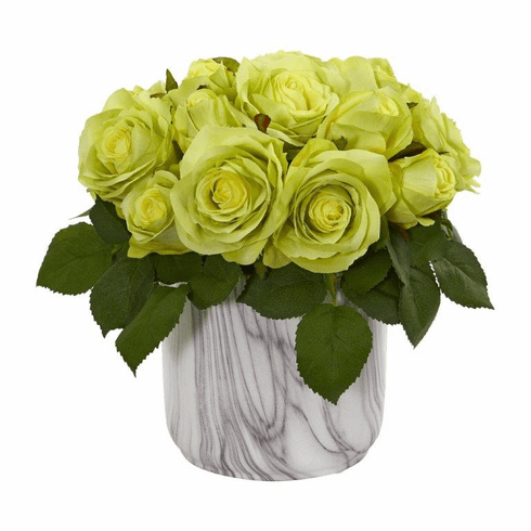 "10"" Rose Artificial Arrangement in Marble Finished Vase - Green"