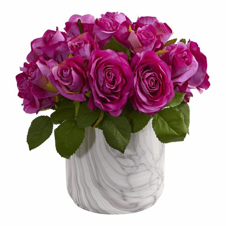 "10"" Rose Artificial Arrangement in Marble Finished Vase - Purple"