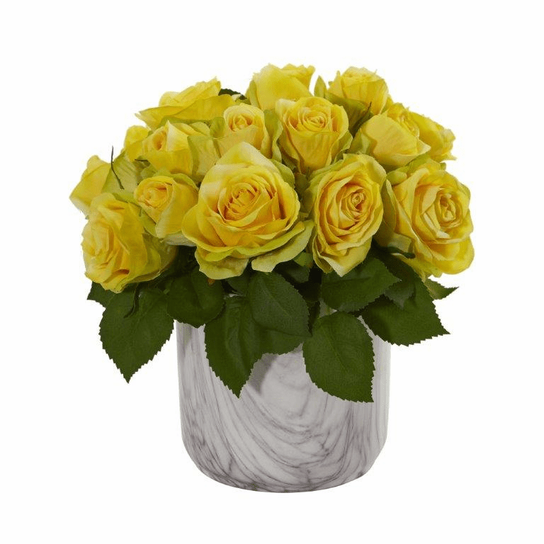 "10"" Rose Artificial Arrangement in Marble Finished Vase - Yellow"