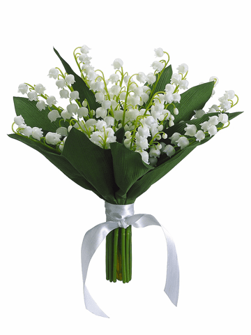"""10"""" Silk Lily of the Valley Wedding Flowers Bouquet - Set of 6"""