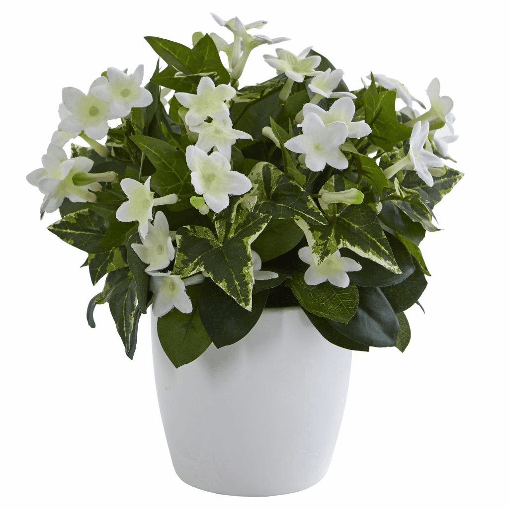 "10"" Stephanotis Artificial Plant in White Vase"