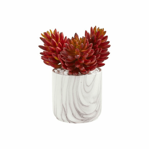 """10"""" Succulent Artificial Plant in Marble Finish Vase"""