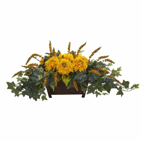 "10"" Sunflower Artificial Arrangement in Decorative Planter  - Yellow"