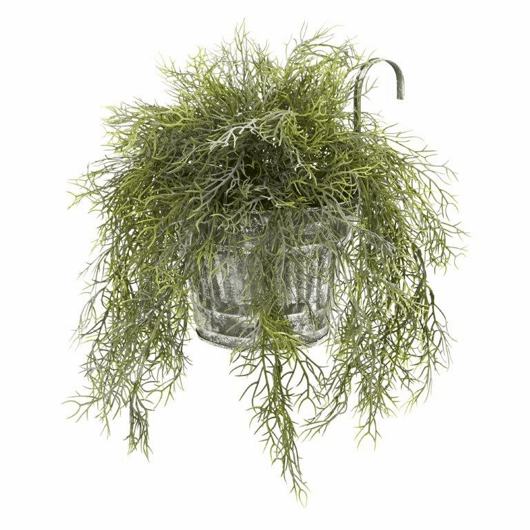10� Tillandsia Moss Artificial Plant in Vintage Hanging Metal Pail