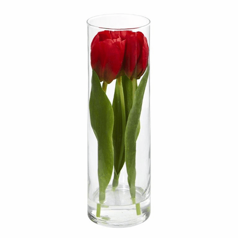 "10"" Tulips Artificial Arrangement in Glass Vase - Red"