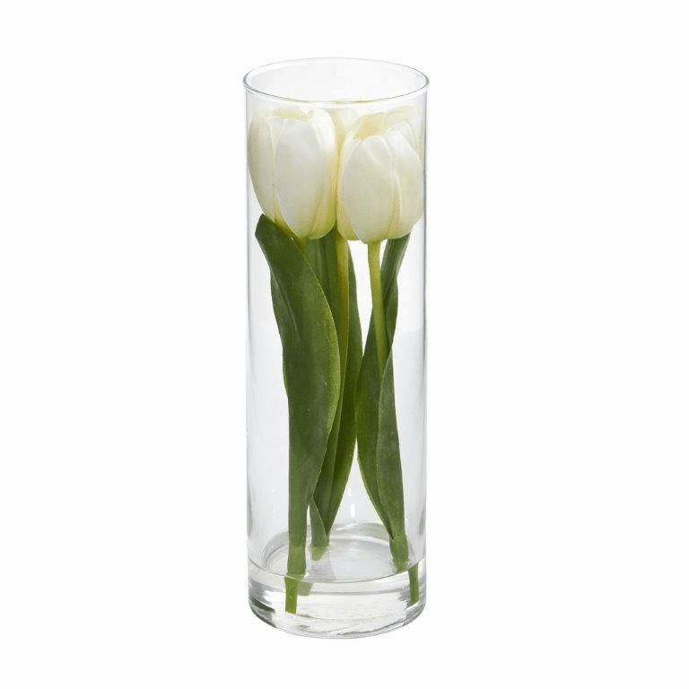 "10"" Tulips Artificial Arrangement in Glass Vase - White"
