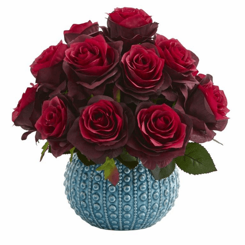 11.5'' Rose Artificial Arrangement in Blue Ceramic Vase - Burgundy