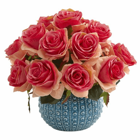 11.5'' Rose Artificial Arrangement in Blue Ceramic Vase - Dark Pink