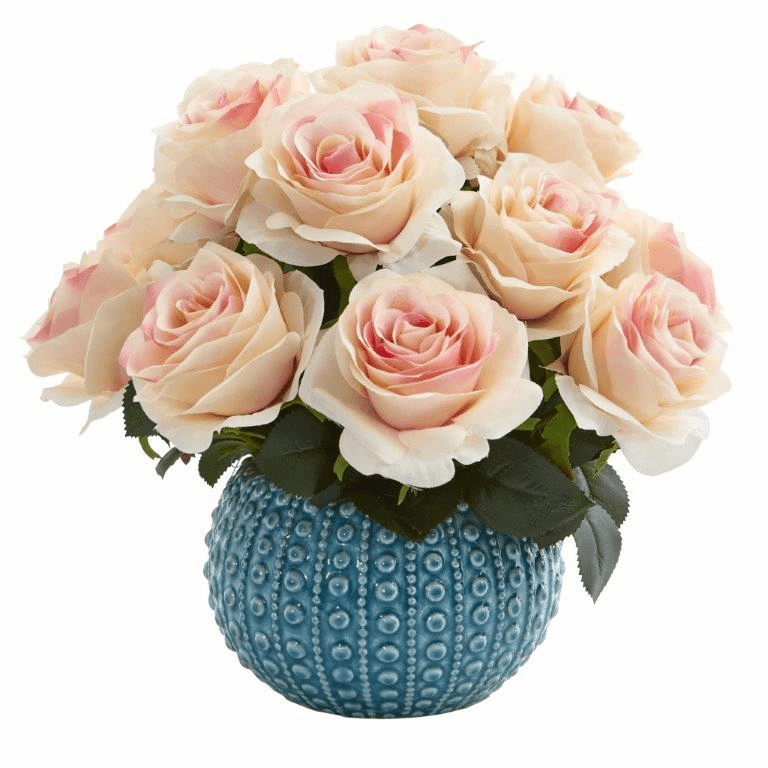 11.5�� Rose Artificial Arrangement in Blue Ceramic Vase - Light Pink