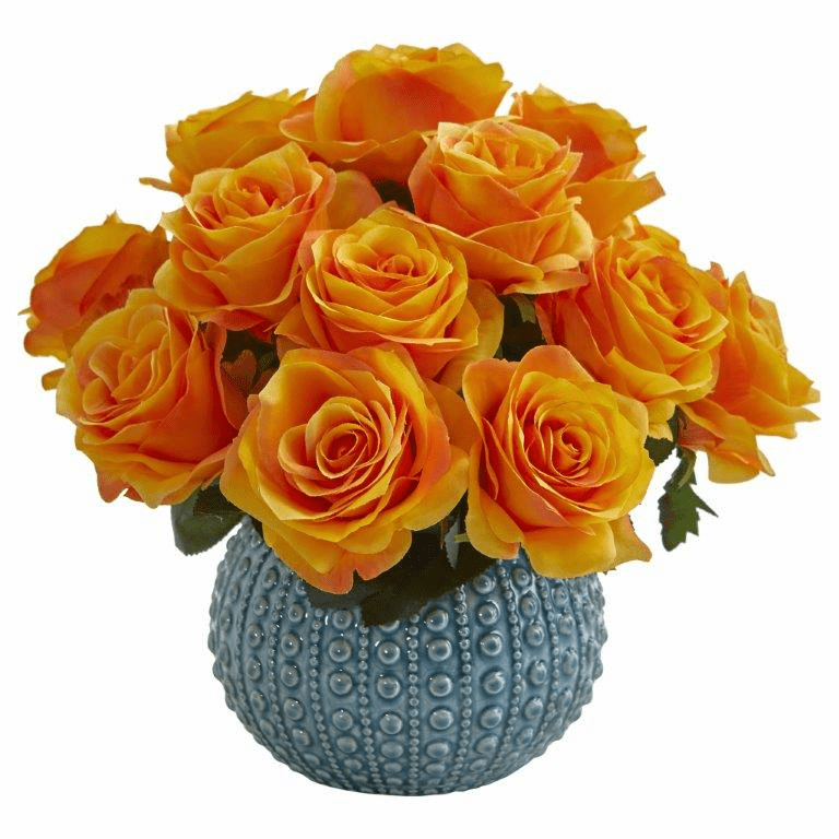 11.5�� Rose Artificial Arrangement in Blue Ceramic Vase - Orange Yellow