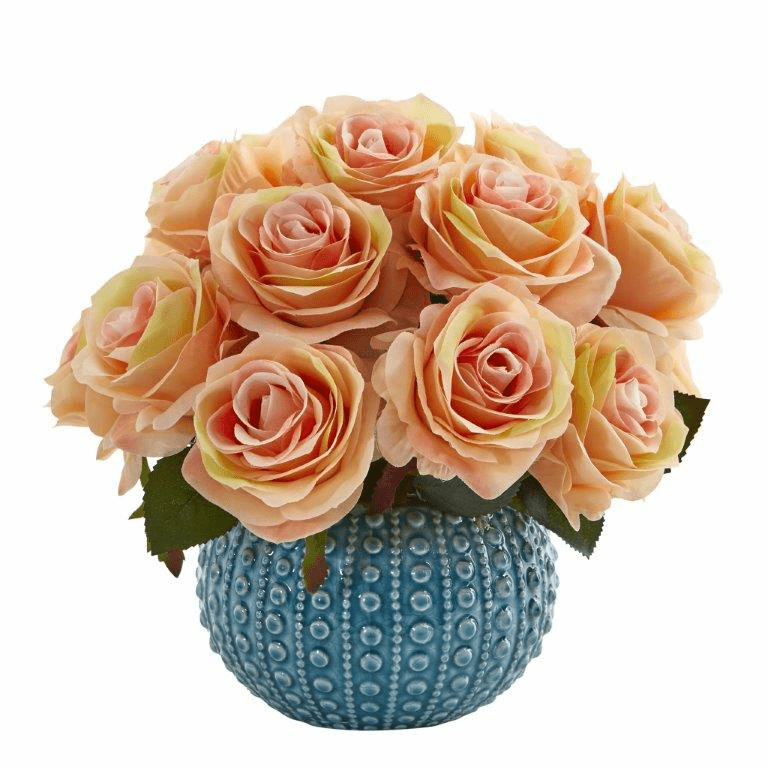 11.5�� Rose Artificial Arrangement in Blue Ceramic Vase - Peach