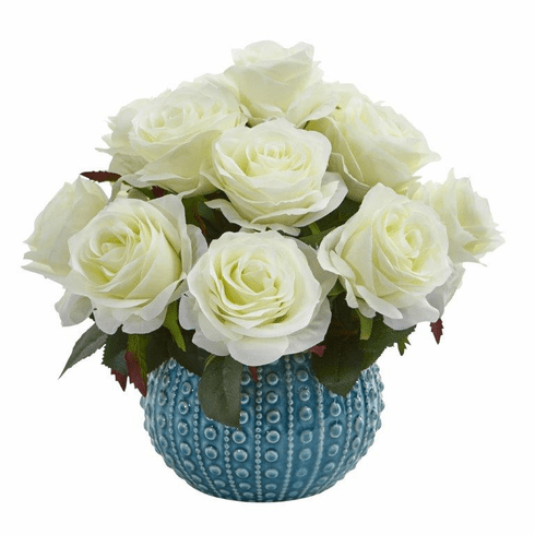 11.5'' Rose Artificial Arrangement in Blue Ceramic Vase - White