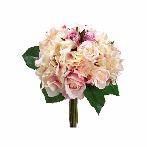 """11"""" Artificial Rose and Hydrangea Flower Bouquet  - Set of 6"""