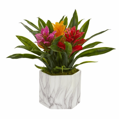 "11"" Bromeliad Artificial Plant in Marble Finished Vase - Assorted"