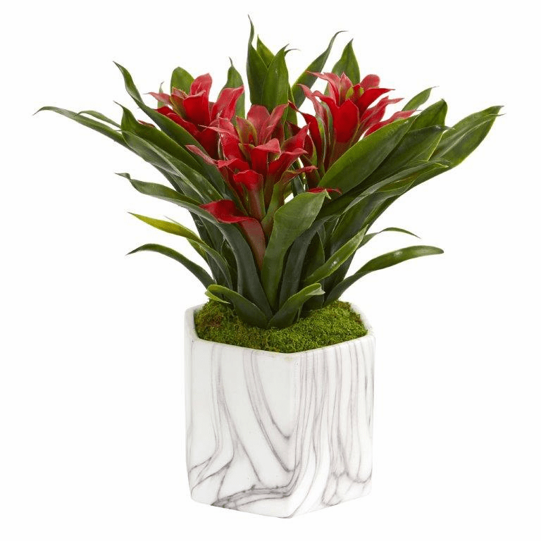 "11"" Bromeliad Artificial Plant in Marble Finished Vase - Red"