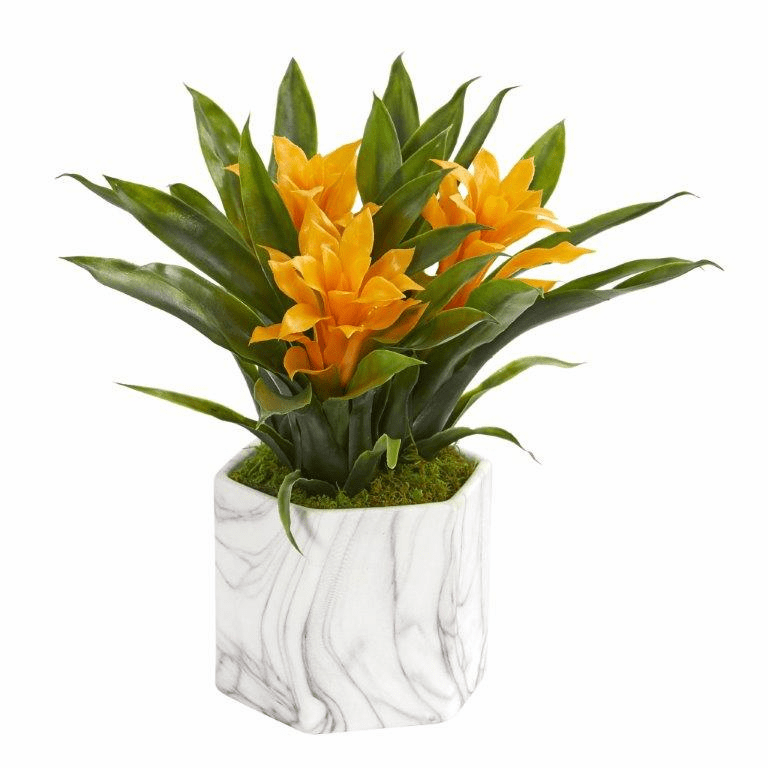 "11"" Bromeliad Artificial Plant in Marble Finished Vase - Yellow"
