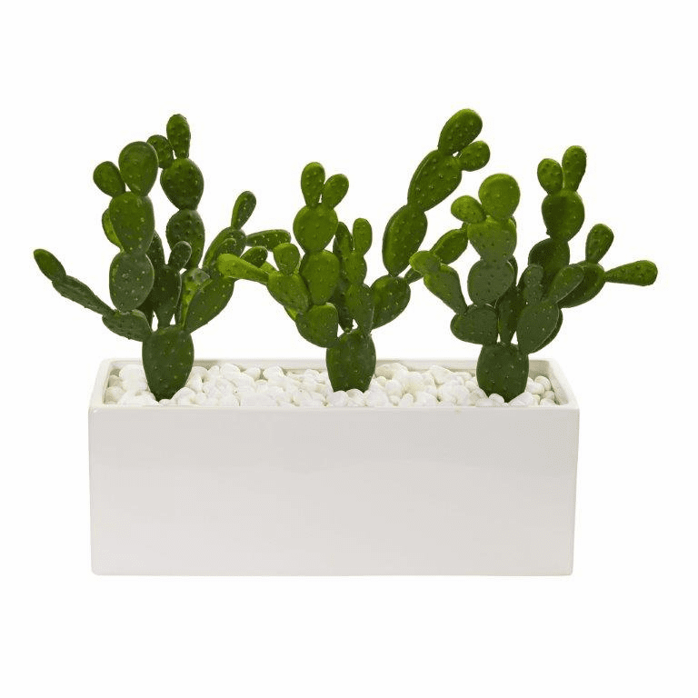 11� Cactus Succulent Artificial Plant in Glazed White Vase