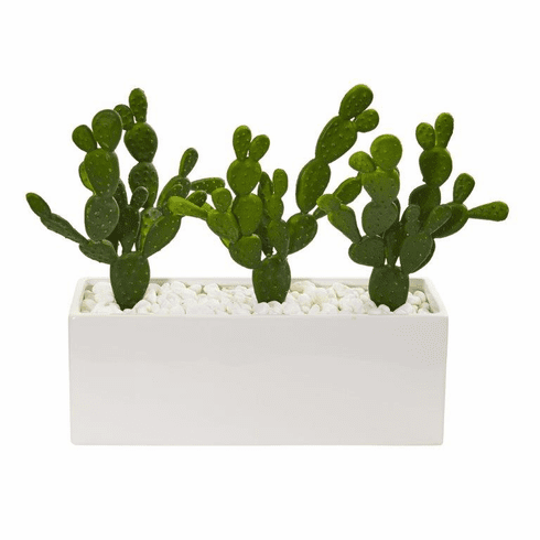 "11"" Cactus Succulent Artificial Plant in Glazed White Vase"